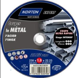 Photo disque métal à découper 125*1.6, à meuler 115*1.6, à tronçonner 230 ép 2mm CE