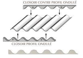 CLOSOIR TOLE ONDULEE ADHESIF SUR SEMELLE 11*76*18 1M